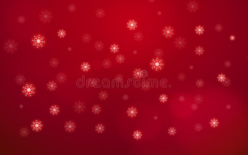 Abstract white snow flake falling from sky on red background. Merry Christmas and happy new year day concept. Beautiful Xmas vector illustration