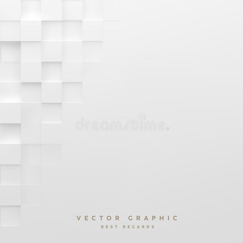 Abstract white square background. Geometric minimalistic cover d stock illustration