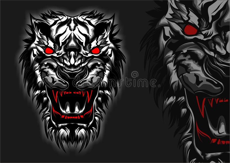 Animal Abstract White Tiger Head Wild Angry Front view  royalty free stock photos