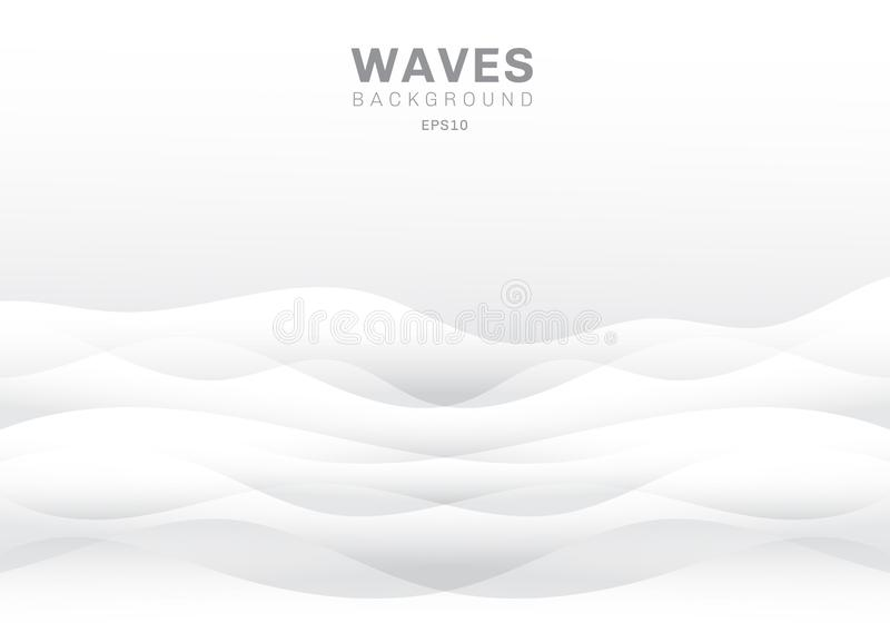 Abstract white waves background and texture with copy space. Smooth wavy nature royalty free illustration