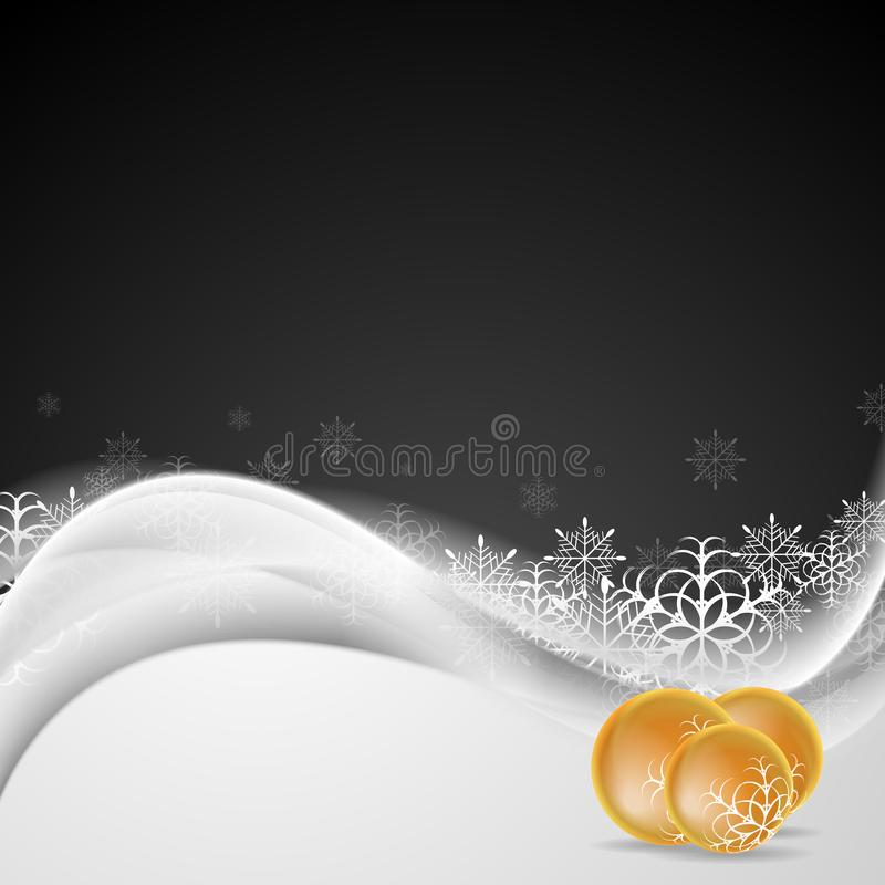 Abstract white waves and Christmas decorations background vector illustration