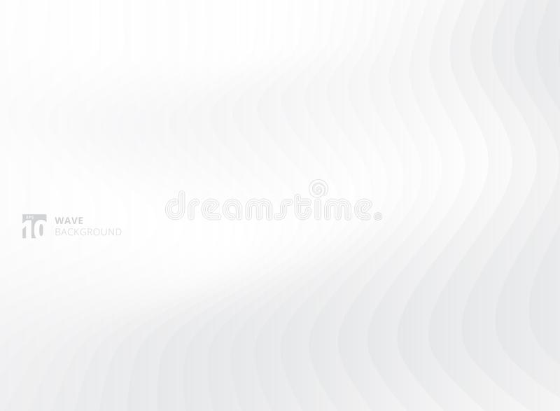 Abstract white waves pattern background and texture vector illustration