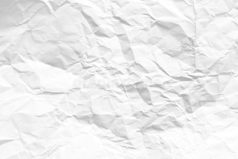 Abstract white wrinkled paper background stock image
