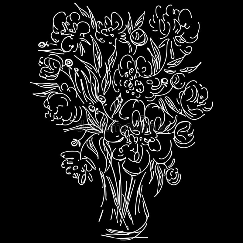 Abstract wild flowers bouquet isolated on black background. Hand drawn vector illustration. Outline icon vector illustration