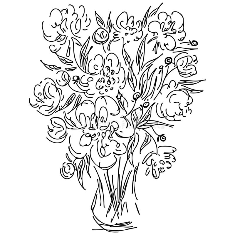 Abstract wild flowers bouquet isolated on white background. Hand drawn vector illustration. Outline icon royalty free illustration