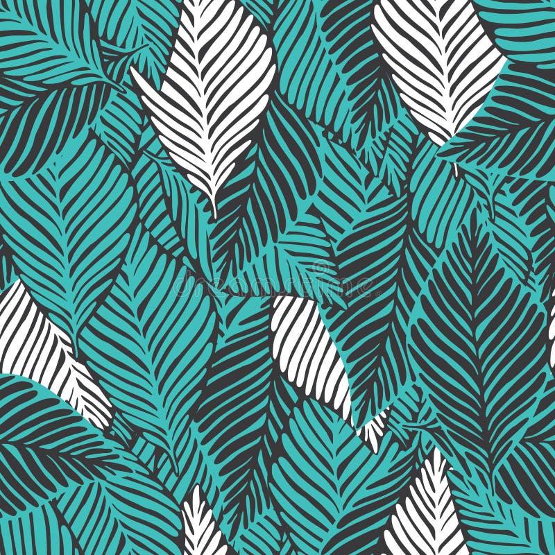 Abstract wildernis naadloos patroon Exotische installatie Tropische druk, royalty-vrije illustratie