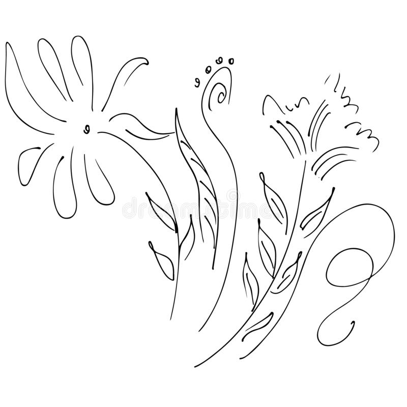 Abstract wildflower outline icon isolated on white background. Hand Drawn vector illustration. Line art vector illustration