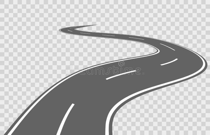 Abstract winding vector road. Road winding, travel road asphalt, street road for transportation, road highway illustration stock illustration