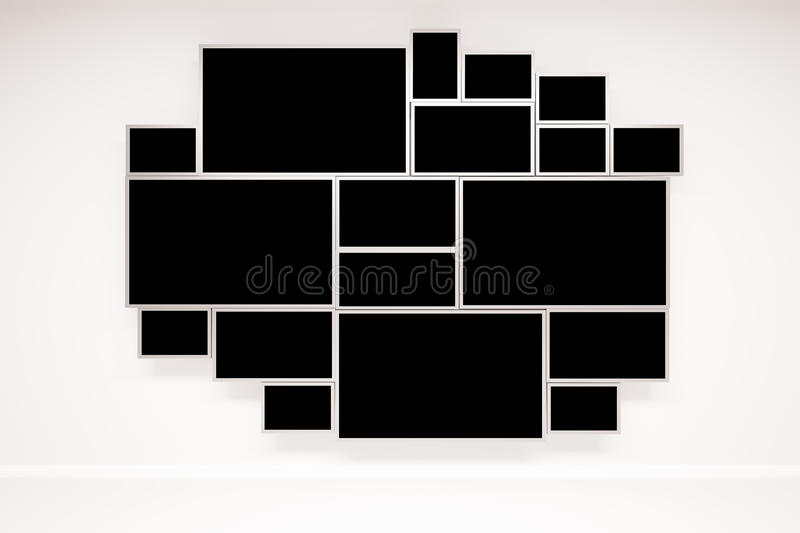 Abstract window. Concrete wall with creative framed black window. 3D Rendering royalty free illustration