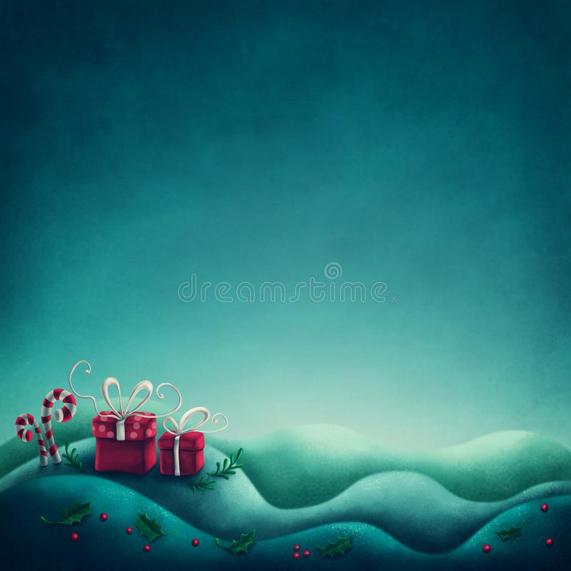 Abstract winter background. With gift boxes royalty free illustration