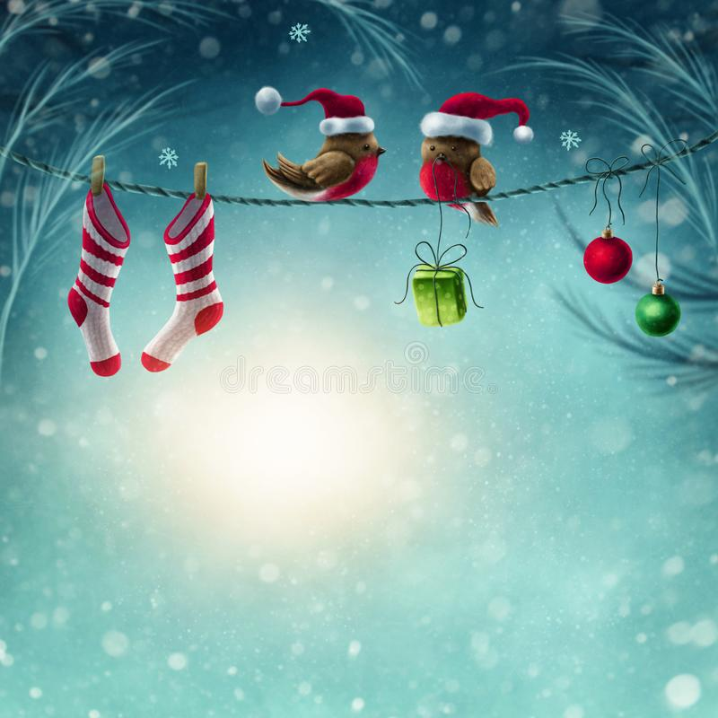Abstract winter background. With birds vector illustration