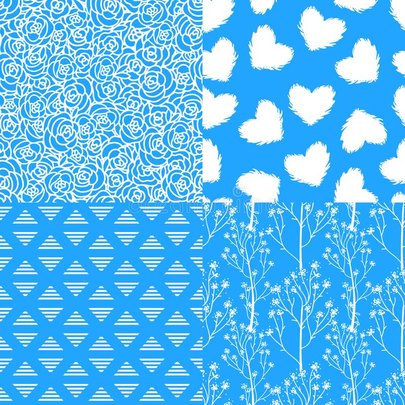 Abstract winter blue white roses, wild flower, heart. Set of seamless patterns backgrounds. royalty free illustration