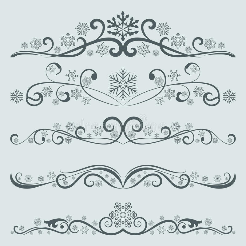 Abstract winter Christmas dividers stock illustration