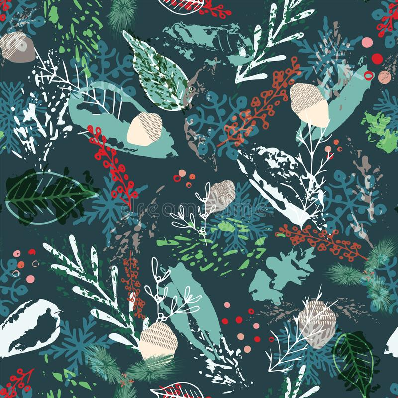 Abstract winter foliage seamless background. Painterly dark floral pattern design. Vector stock illustration