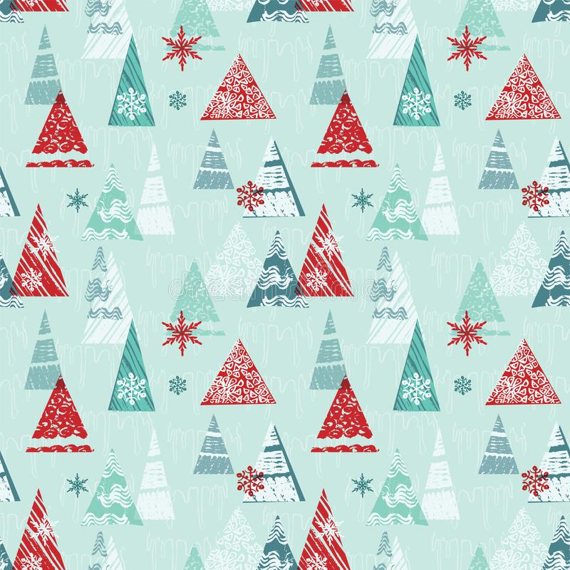 Abstract winter forest or mountain scene holiday season design. For Christmas wrapping paper and more. Vector vector illustration