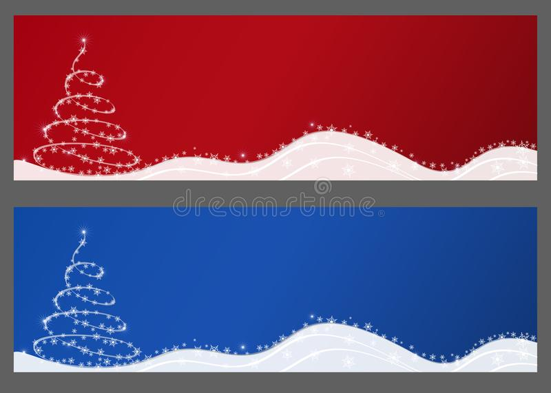 Abstract Christmas horizontal banners vector illustration