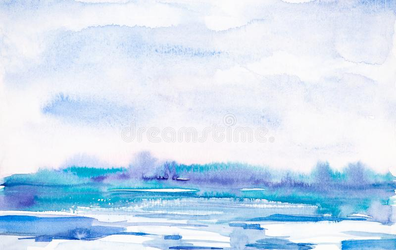Abstract winter landscape of forest and snowy field. Hand drawn watercolor illustration stock illustration