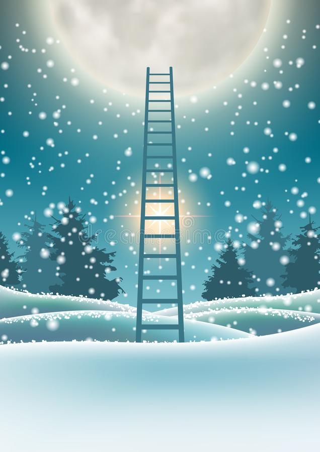 Snowy forest with big moon and abstract ladder. Abstract winter motive, snowy forest with big moon and abstract ladder, vector illustration, eps 10 with stock illustration