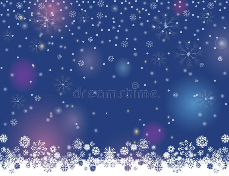 Abstract winter night lights blurry background for your Merry Christmas and Happy New Year design stock illustration