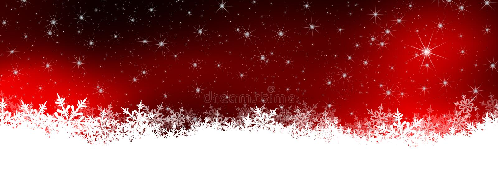 Abstract Winter Panorama Background with Starry Red Night Sky and Snowflakes vector illustration
