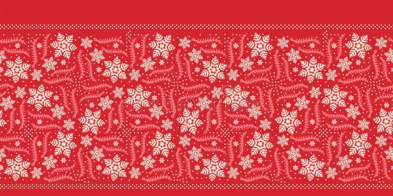 Hand drawn abstract winter snowflake border pattern. Stylish crystal stars. Red ecru monochrome background. Elegant holiday ribbon royalty free illustration