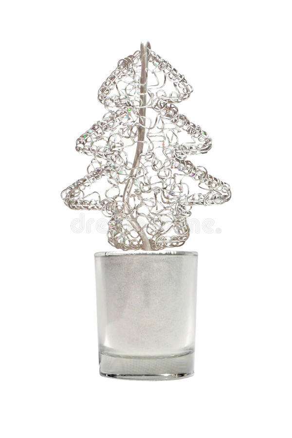 Abstract Wired Metal Christmas Tree In Small Glass Stock Images