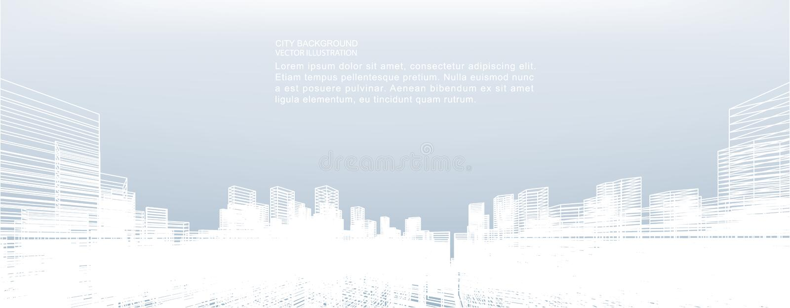 Abstract wireframe city background. Perspective 3D render. Abstract wireframe city background. Perspective 3D render of building wireframe. Vector illustration stock illustration