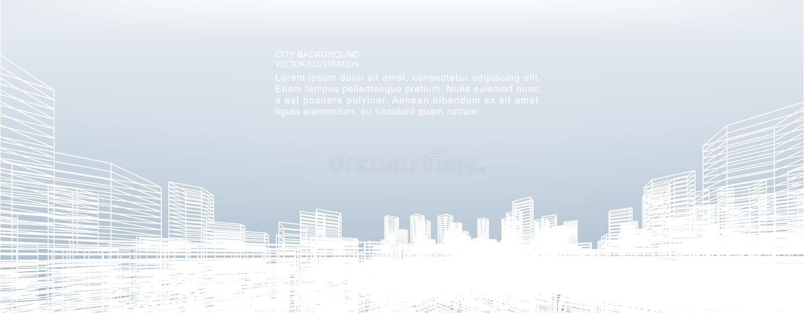 Abstract wireframe city background. Perspective 3D render of building wireframe. royalty free illustration