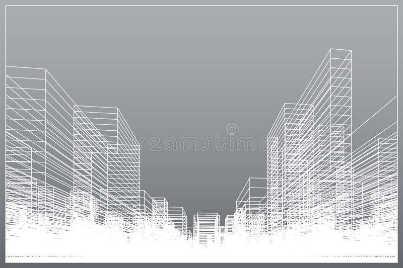 Abstract wireframe city background. Perspective 3D render of building wireframe vector illustration
