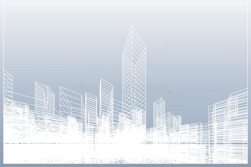 Abstract wireframe city background. Perspective 3D render of building wireframe. Vector vector illustration