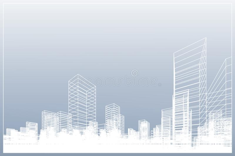 Abstract wireframe city background. Perspective 3D render of building wireframe. Vector stock illustration
