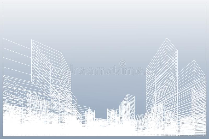 Abstract wireframe city background. Perspective 3D render of building wireframe. Vector royalty free illustration