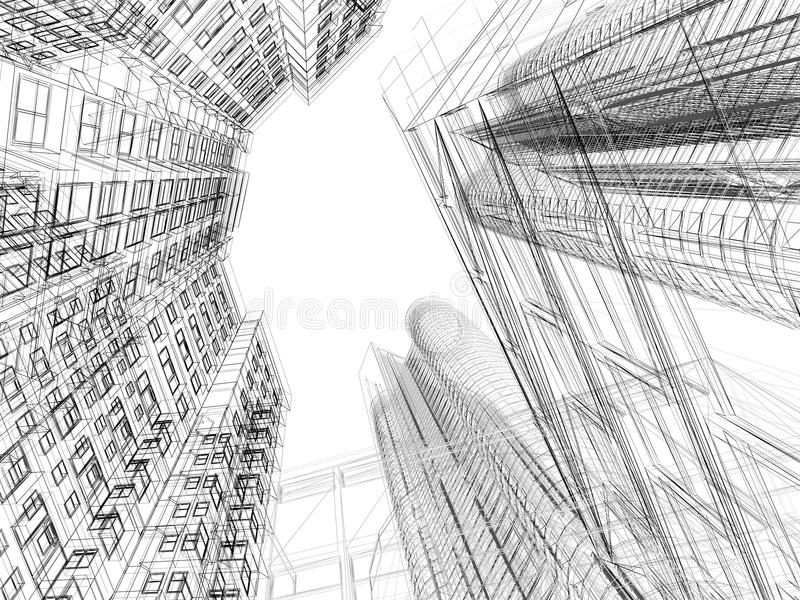 Abstract wireframe of 3D architecture royalty free illustration
