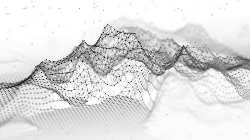 Abstract wireframe landscape. Abstract mesh landscapes. Polygonal mountains. 3D illustration royalty free stock photography