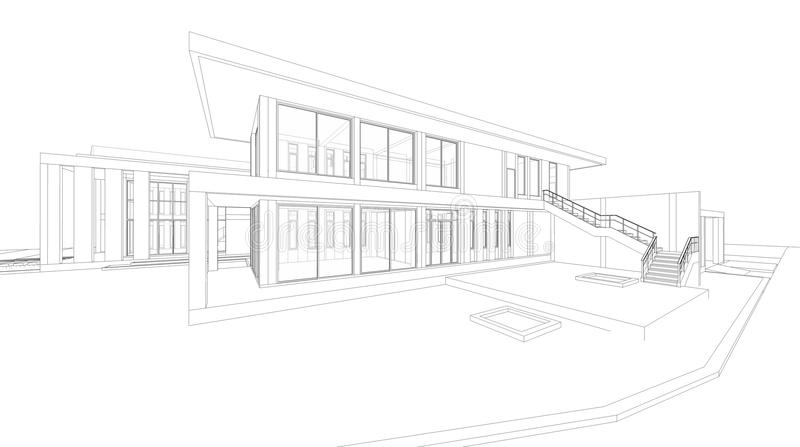 Abstract wireframe perspective of 3D house rendering. royalty free illustration