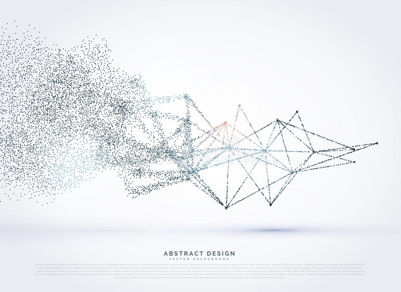 Abstract wireframe poly mesh network fading in particle royalty free illustration
