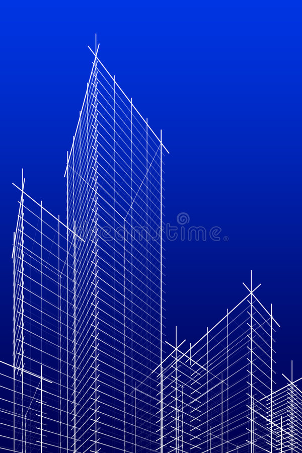 Abstract wireframe skyscrappers. blue version. vector illustration