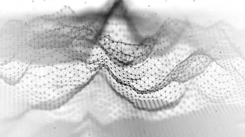 Abstract wireframelandschap Abstracte netwerklandschappen Veelhoekige Bergen 3D Illustratie stock afbeelding