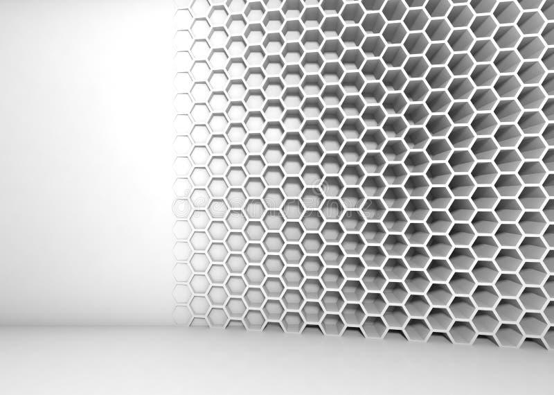 Abstract wit 3d binnenland met honingraatpatroon royalty-vrije illustratie