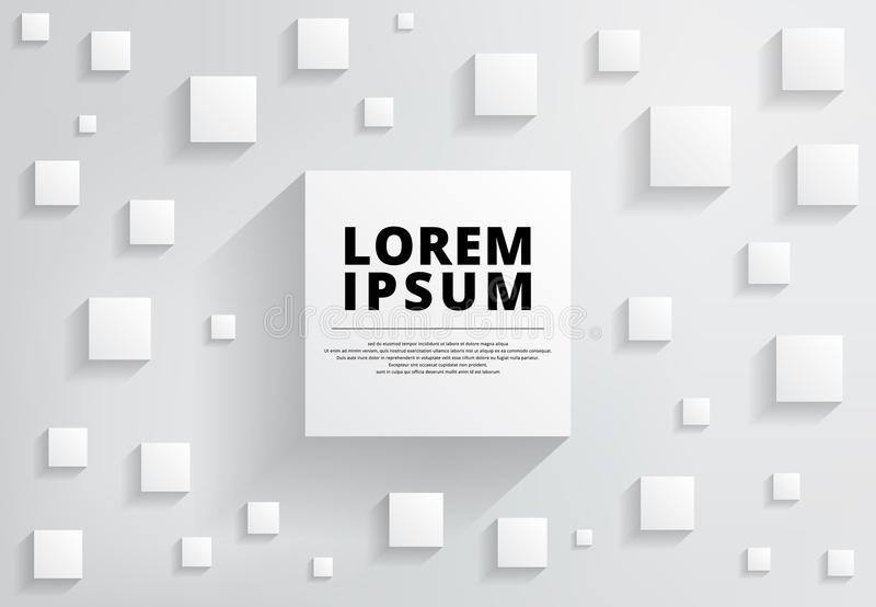 Abstract wit en grijs modern vierkant als achtergrond met schaduw voor royalty-vrije illustratie