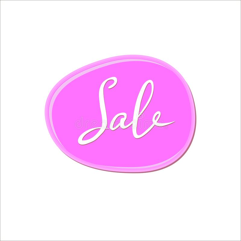 Abstract wit verkoopteken over roze kauwgomvlek op witte achtergrond De daling van de kleurenverf nagellakplons vector illustratie