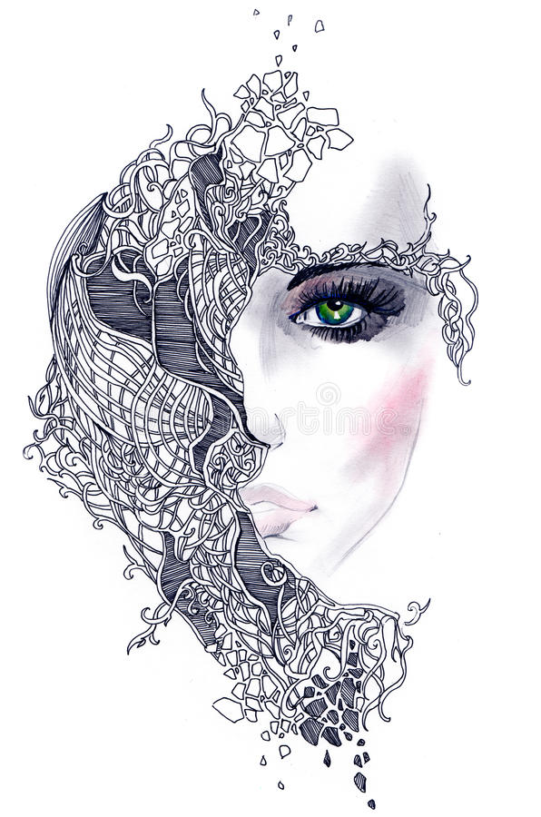 Abstract woman face stock illustration