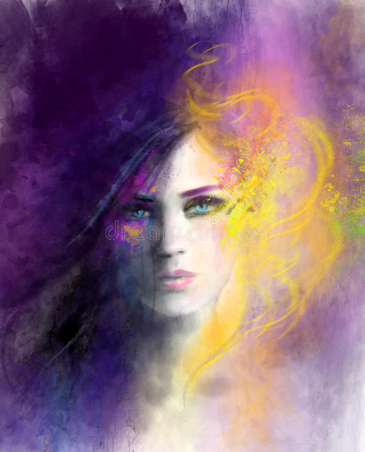 Abstract woman portrait. Day and night illustration stock images