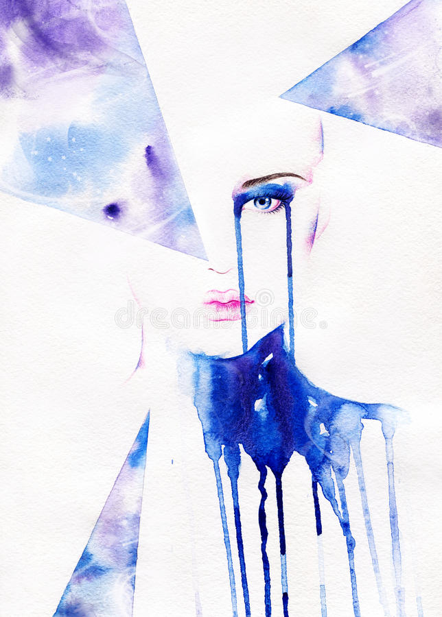 Abstract woman portrait .fashion background. Hand painted art fashion illustration stock illustration