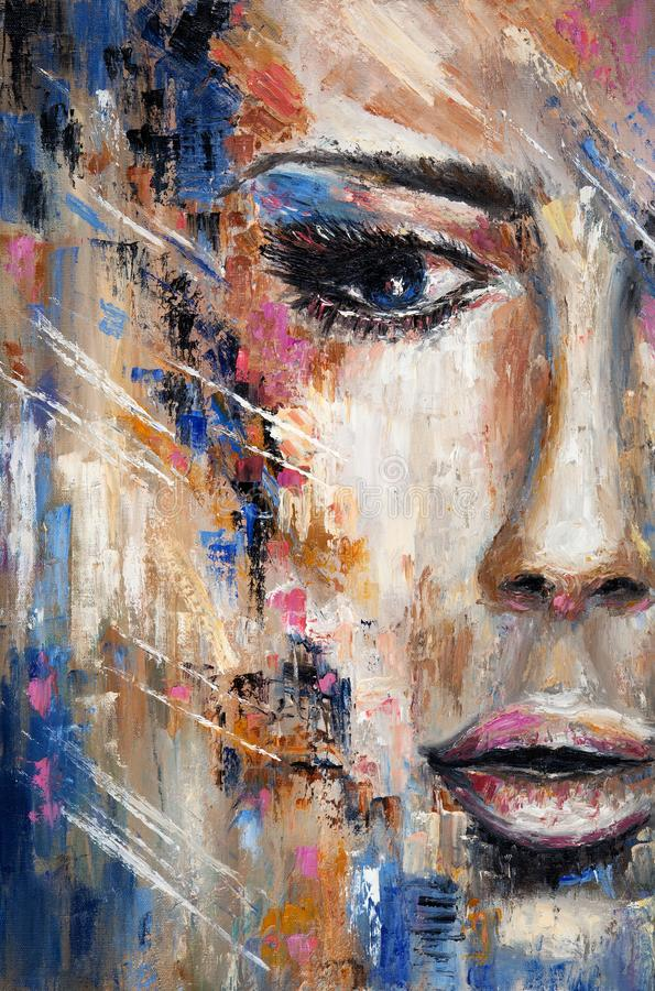 Abstract woman portrait. Abstract painting of a woman face on canvas.Modern Impressionism, modernism,marinism royalty free stock photo