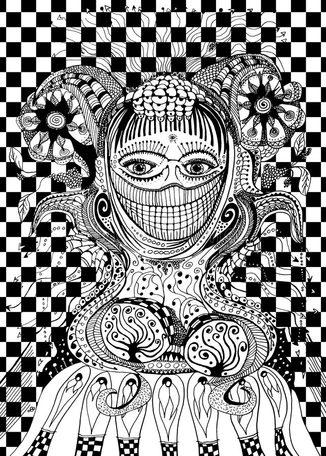 Abstract woman priestess line art black and white royalty free stock photos