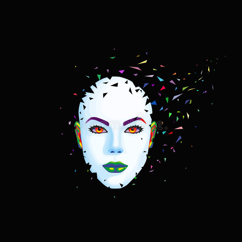 Abstract woman's face. Breaks into pieces. Vector illustration stock illustration