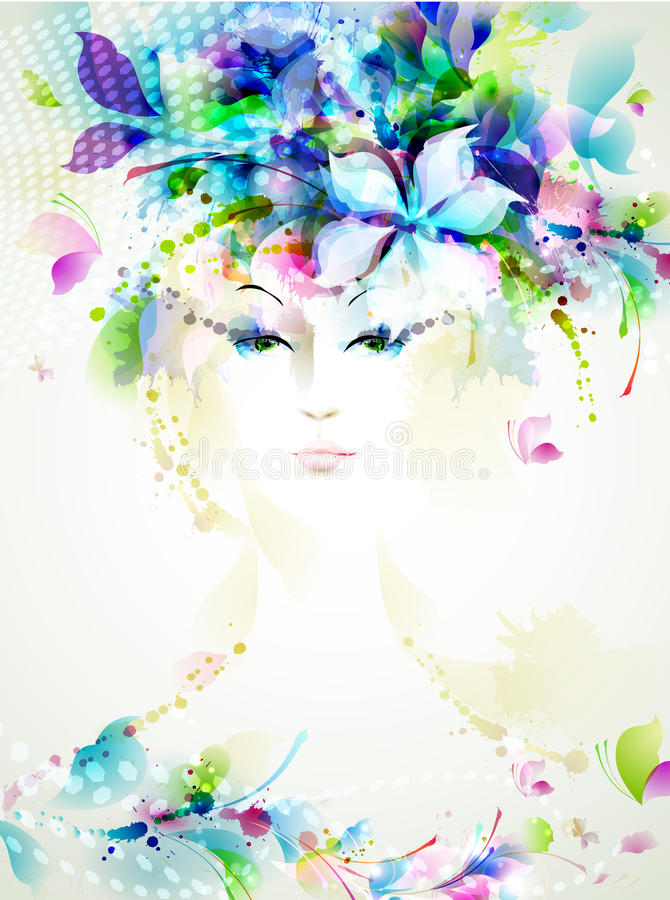 Abstract women. Beautiful abstract women with abstract design elements stock illustration