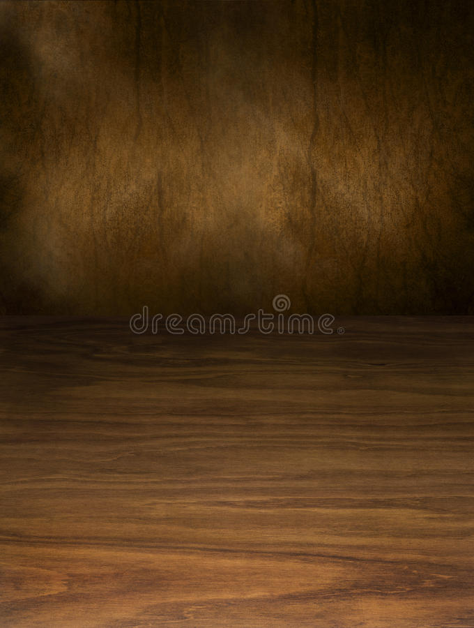 Abstract Wood And Brown Background. A rich dark wood background on the bottom surface with an abstract brown painted top half stock photo