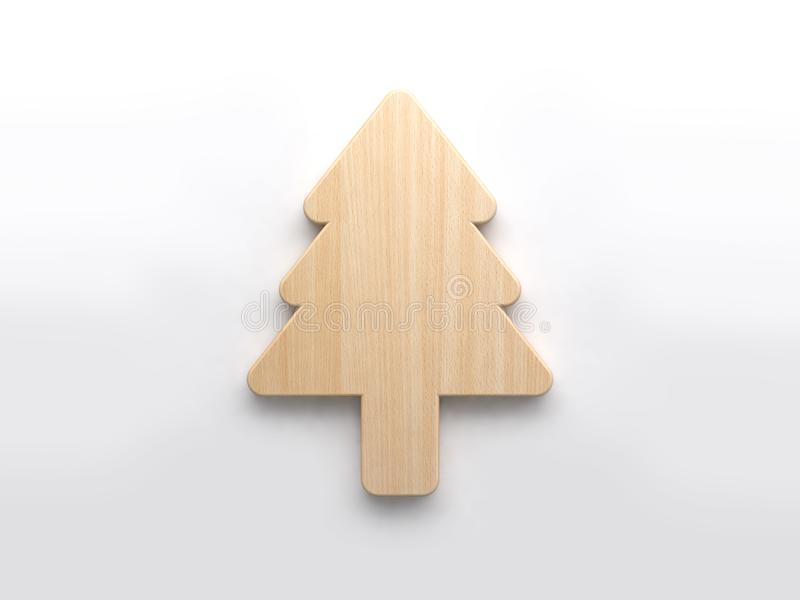 Abstract wood christmas tree icon minimal white background 3d render royalty free illustration